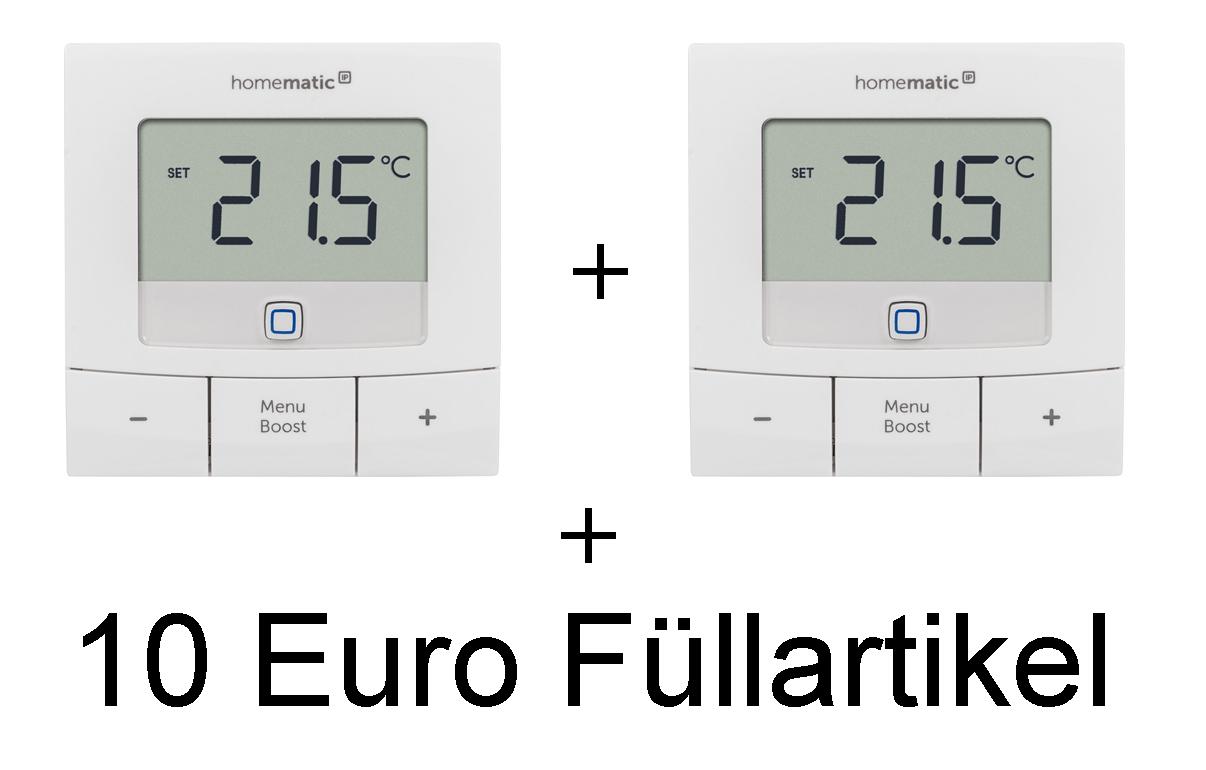 2x HOMEMATIC IP H154666A0 Basic Wandthermostat + 10 Euro Füllartikel