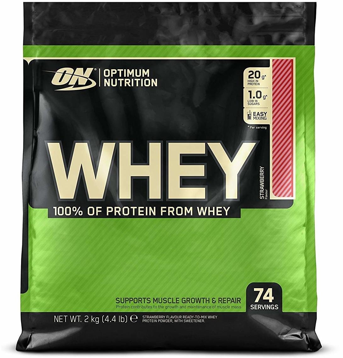 6kg Optimum Nutrition Whey Erdbeere - 7,25€/kg ab 50 EUR MBW vor Gutscheinabzug (+ Proteinriegel, Pulvermahlzeit, Instant Oats)