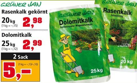Rasenkalk/ Dolomitkalk bei Thomas Philips 50kg für 5,- Euro, 100W Glühlampen