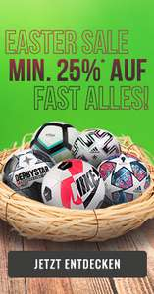 Easter Sale bei 11teamsports - min. 25% Rabatt auf fast alles
