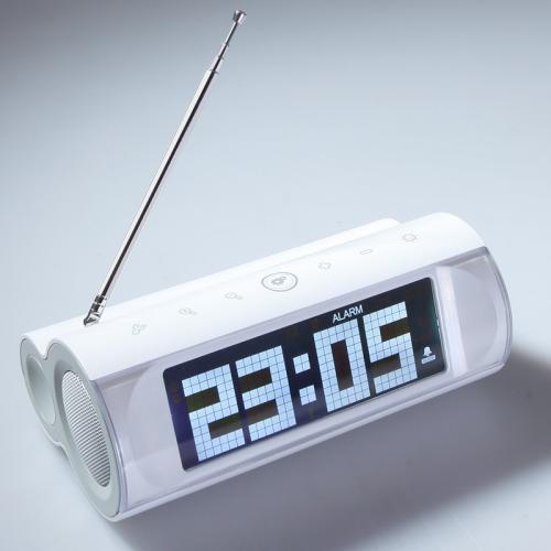 15% Rabatt für LCD Display FM Radio Lautsprecher Wecker 3,5 mm Line-in Weiß