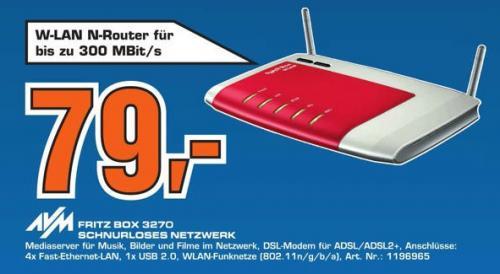 AVM FRITZ!Box 3270 im Saturn Hamburg für 79€  ~24% gegenüber Idealo