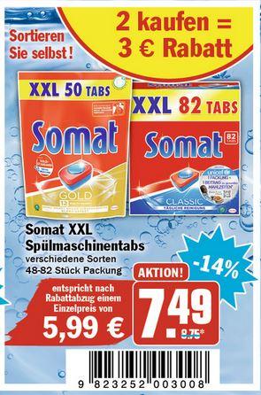 Somat XXL versch. Sorten, 2 Packungen kaufen 3€ Rabatt (HIT, AEZ)