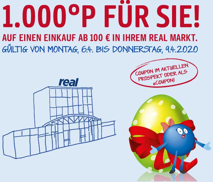1.000 °Payback Punkte für den Einkauf ab 100€ bei real am 08.04 und 09.04.