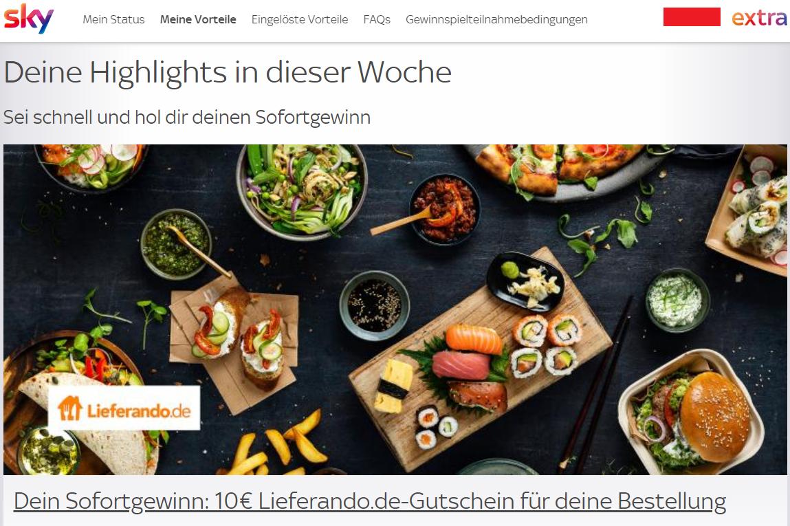 [Sky extra] 10€ Lieferando.de Gutschein Sofortgewinn (ggf. ausgewählte Kunden)