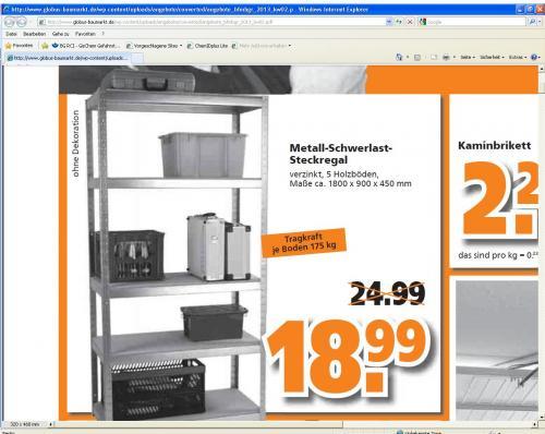 Metall Schwerlast Steckregal (175 kg pro Boden) für 18,99 Euro im Globus Baumarkt