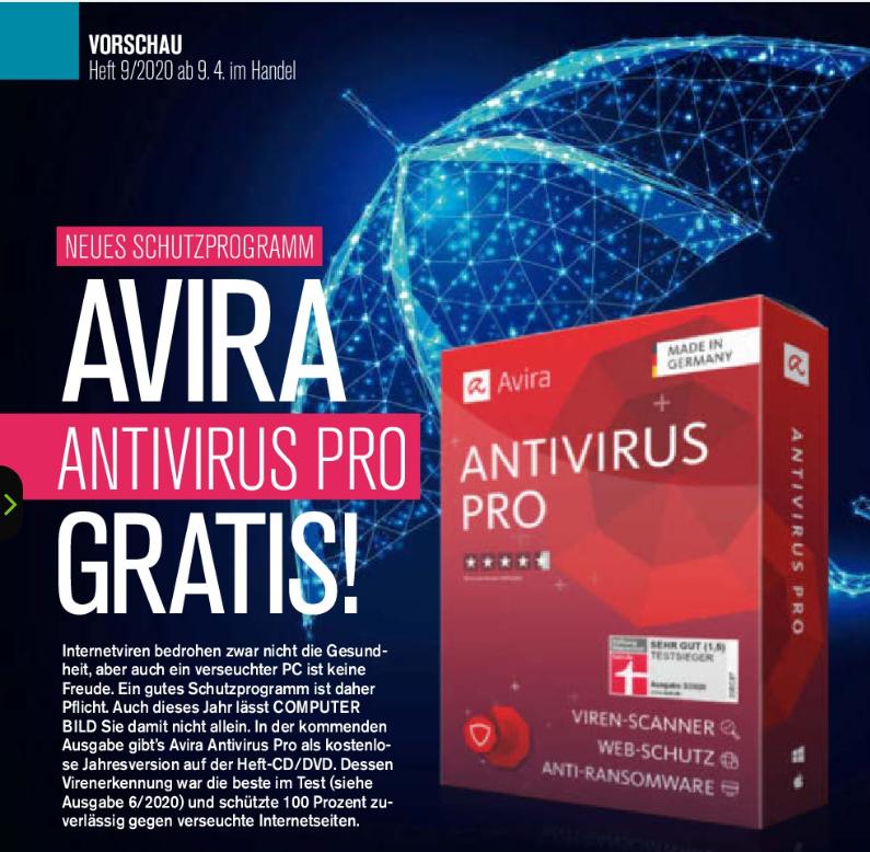 AVIRA ANTIVIRUS PRO, zum Preis der Computerbild