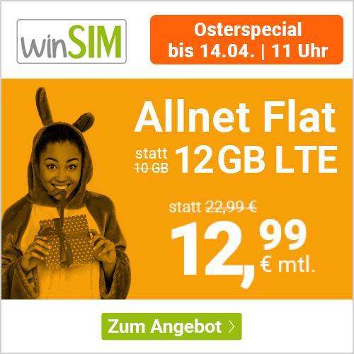 winSIM LTE All 10GB + 2GB extra - Osterspezial | monatlich kündbar für 12,99€ + 9,99€ Anschlusspreis