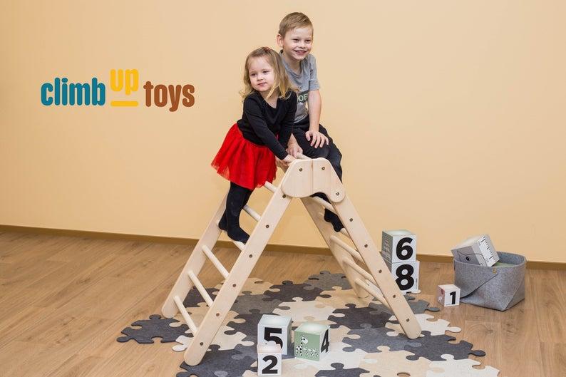 Großes faltbares Pikler-Dreieck 88cm hoch aus baltischer Birke | Kletterspielzeug | Bewegungsentwicklung