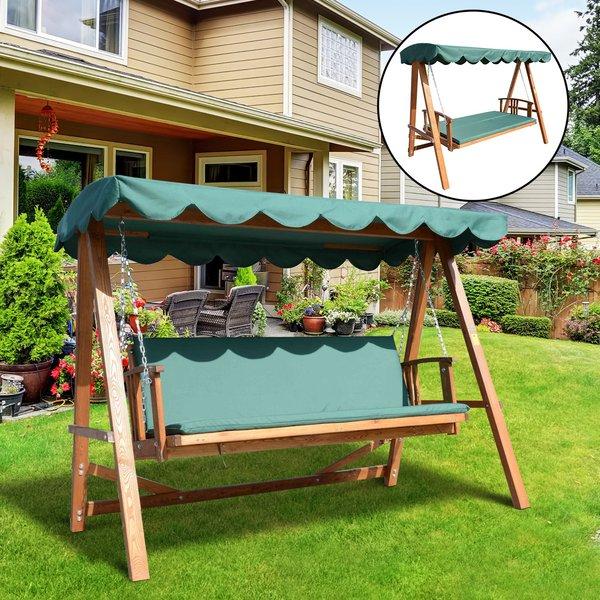 Outsunny® Hollywoodschaukel mit Sonnendach Echtholz für 3-4 Personen