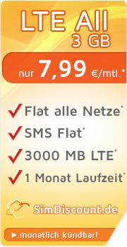 SimDiscount LTE All 3 GB monatlich kündbar