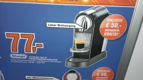 DeLonghi EN 166.B Nespresso CITIZ schwarz für 77€ @ Saturn Karlsruhe (50/70€ Gutschrift möglich)