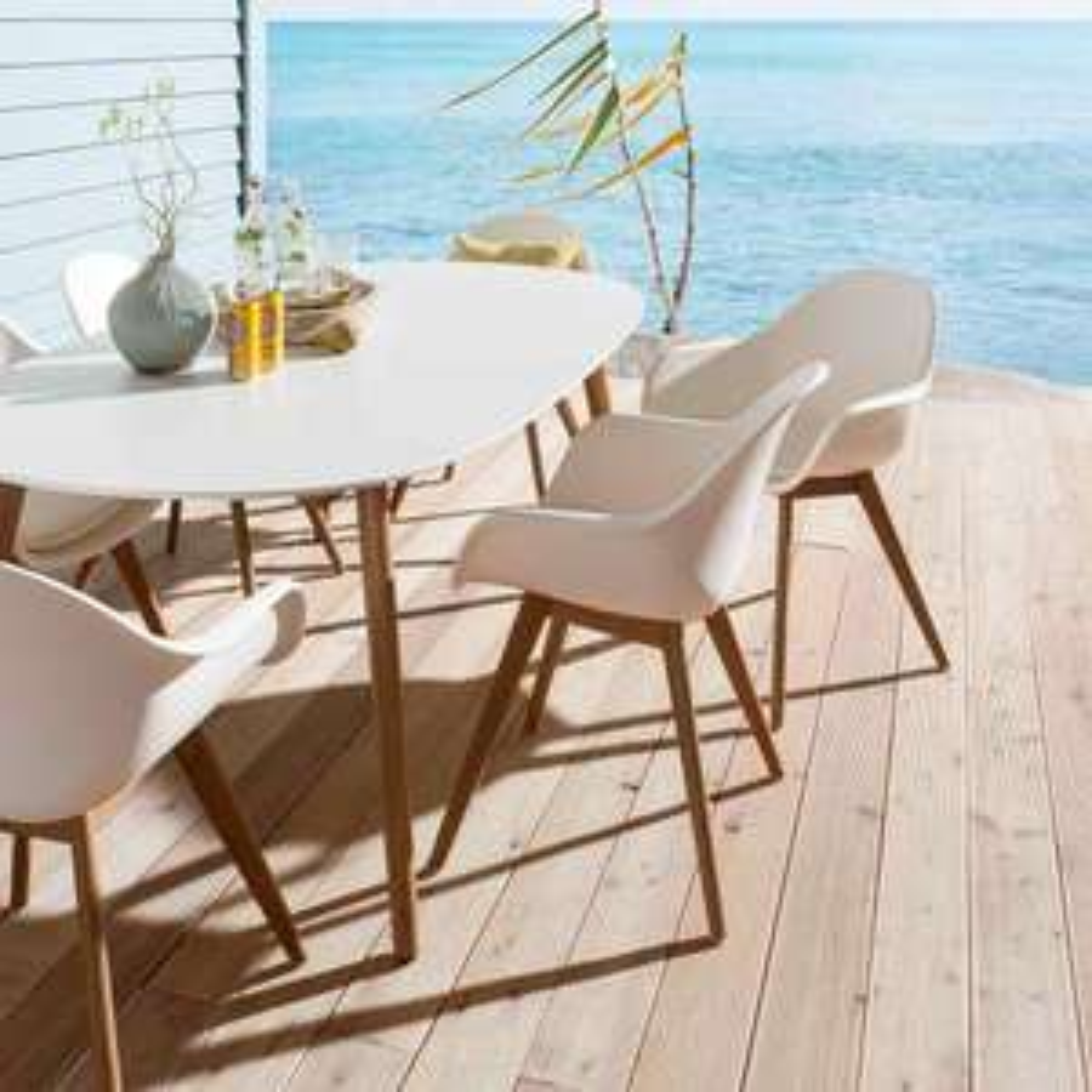 Montreux Gartenmöbelset 7-teilig mit Tisch 190 x 105 cm Eukalyptus/Kunststoff