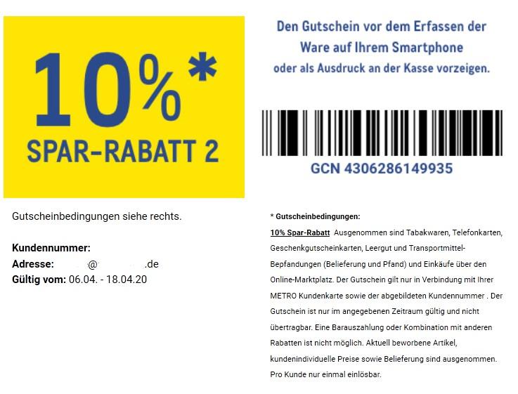 [METRO] 20€ Gutschein ab 100€ und 10% ohne MEW vom 06.04. - 18.04.2020