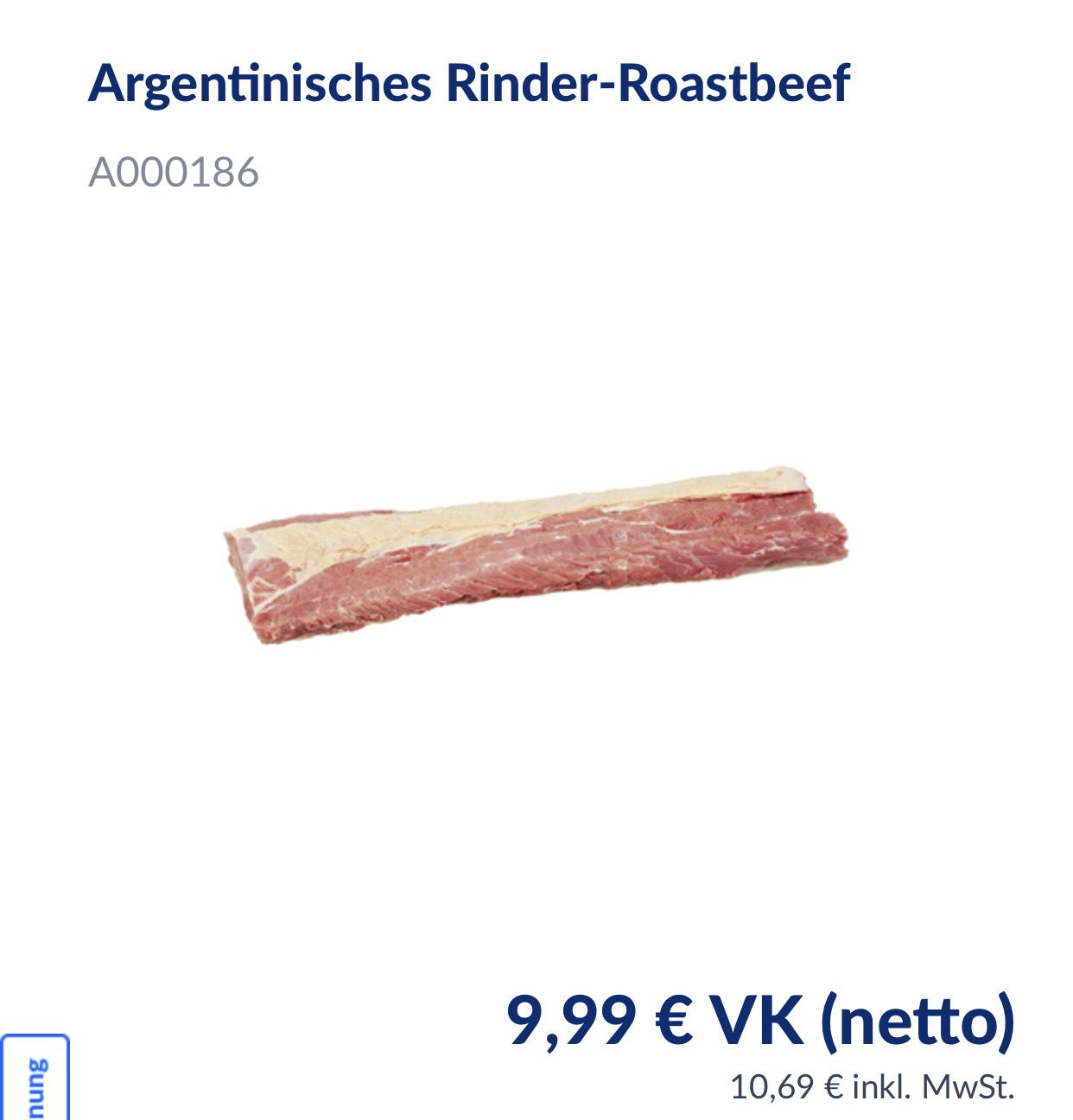 Metro: Argentinische Rinderhüfte oder Roastbeef für 9,99€ (10,96€ inkl. MWST)