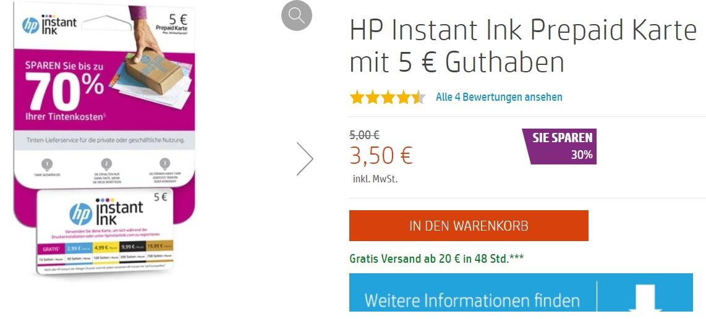[Corporate Benefits Hp Store] HP Instant Ink Prepaid Karte mit 5€ Guthaben für 3,50€, versandkostenfrei ab 20 € || 4% Cashback ggf. möglich