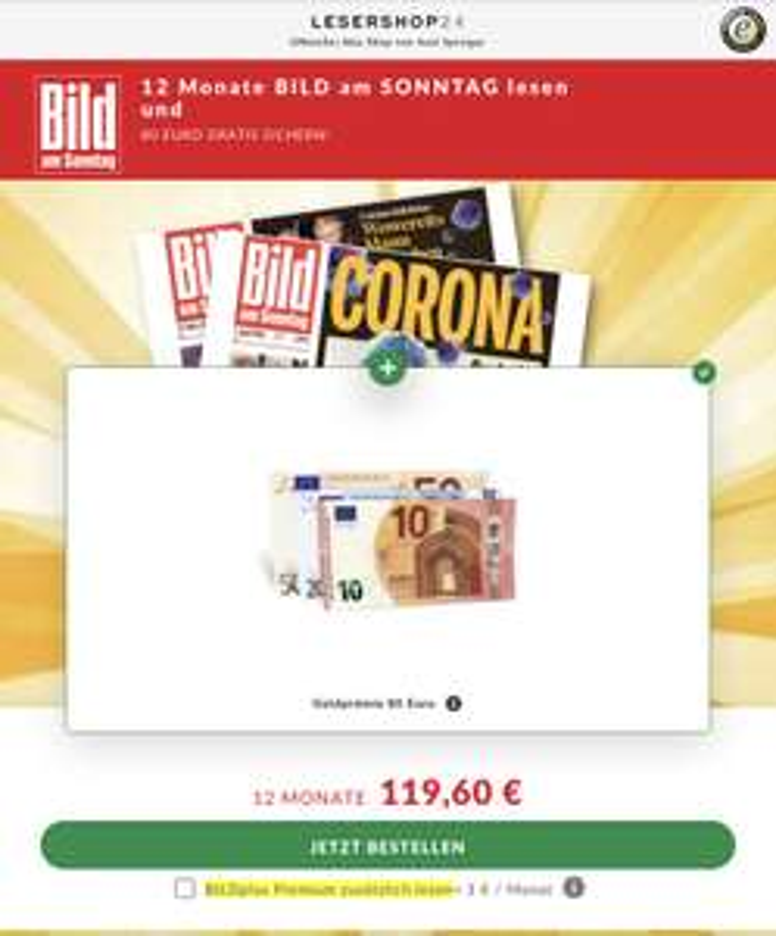 BamS Jahresabo Print mit 80€ Cashback