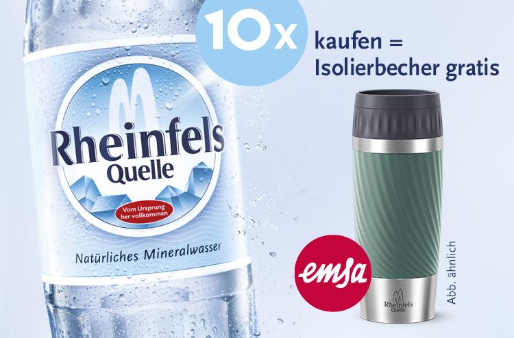 beim Kauf von 10x Rheinfels Quell GRATIS Emsa Isolierbecher Travel Mug TWIST