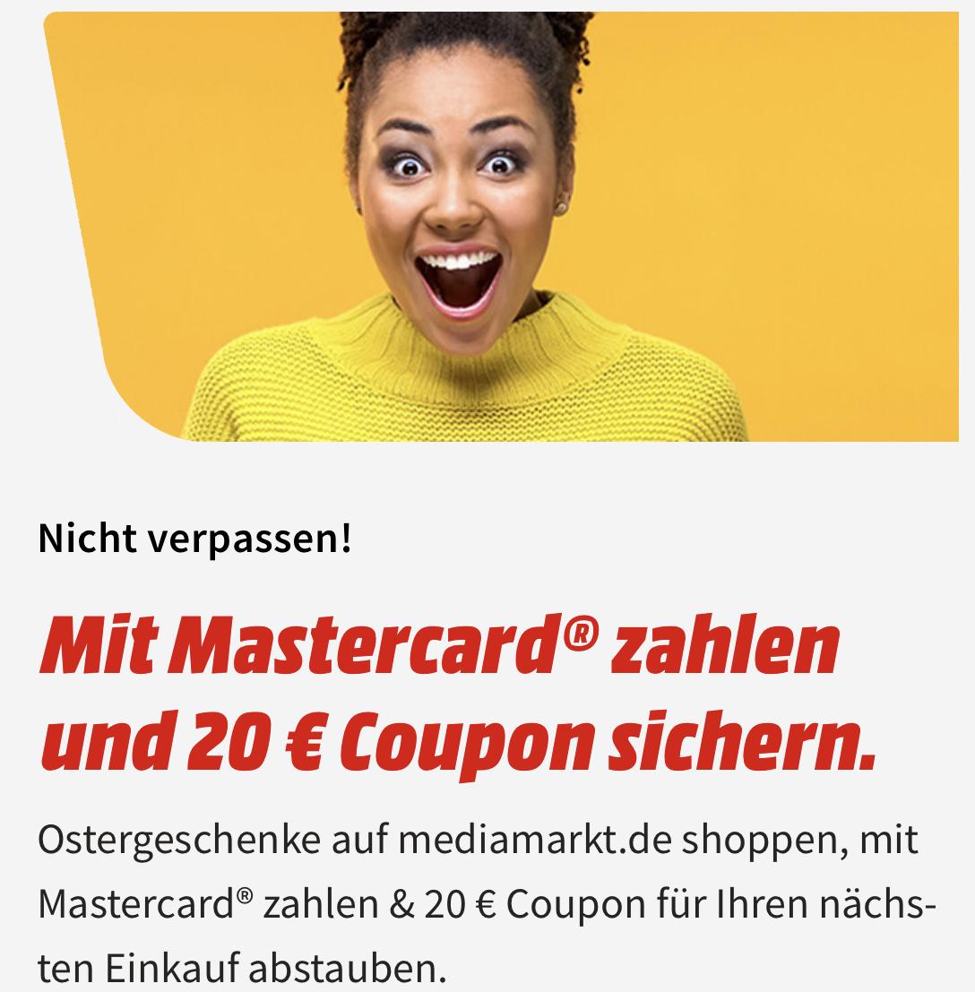 [Mastercard / MM & Saturn] Einkauf ab 50€ mit Mastercard zahlen - zusätzlich einen 20€ Coupon für den nächsten Einkauf (MBW 29€) erhalten