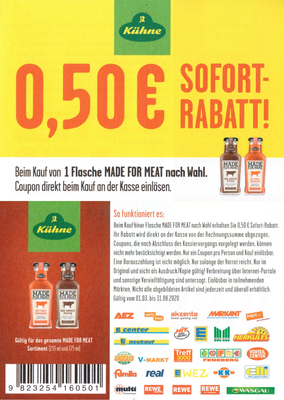 "0,50€ Sofort-Rabatt für Kühne ""Made for Meat"" bis 31.08.2020"