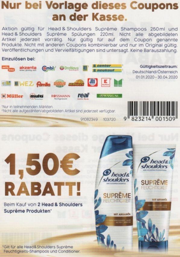 1,50€ Rabatt beim Kauf von 2 Head & Shoulders Supreme Produkten bis zum 30.4.2020 [DE und A]
