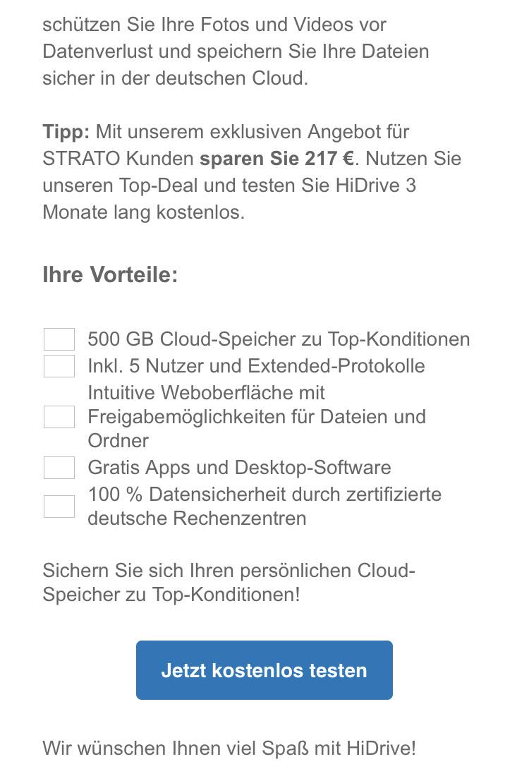 500GB Cloud-Speicher bei Strato für 3 Monate gratis