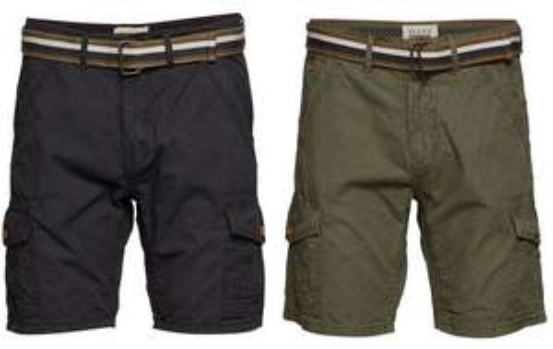 2x Blend Cargo-Shorts mit Gürtel (100% Baumwolle, Slim Fit, Größe S - XL) [booztlet.com]