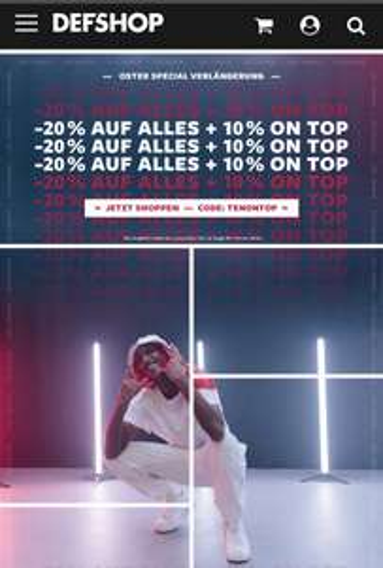 DEF-SHOP -20% auf alles + 10% Extra