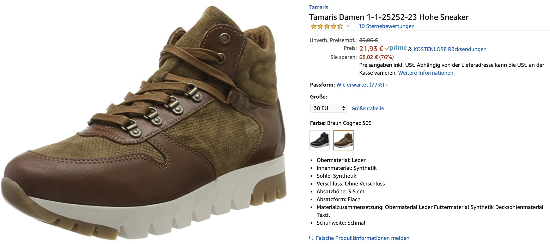 ( Amazon Prime ) Gr.38 Tamaris Damen 1-1-25252-23 Hohe Sneaker *Leder