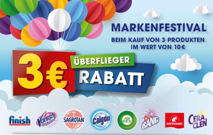 3€ Sofort-Rabatt markenfestival (finish, sagrotan,... ) beim Kauf von Produkten im Wert von 10 € - gültig bis 30.9.2020