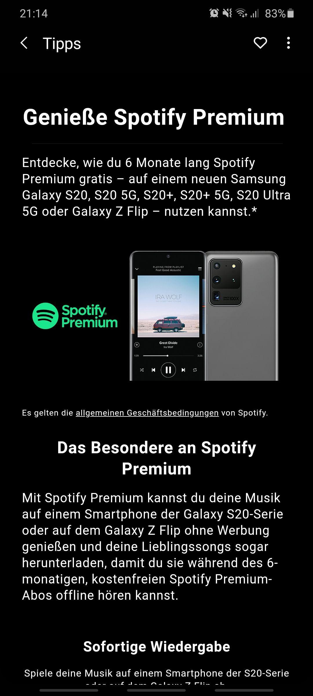 6 Monate Spotify Premium NUR FÜR DIE S20 REIHE ODER Z FLIP NUTZER