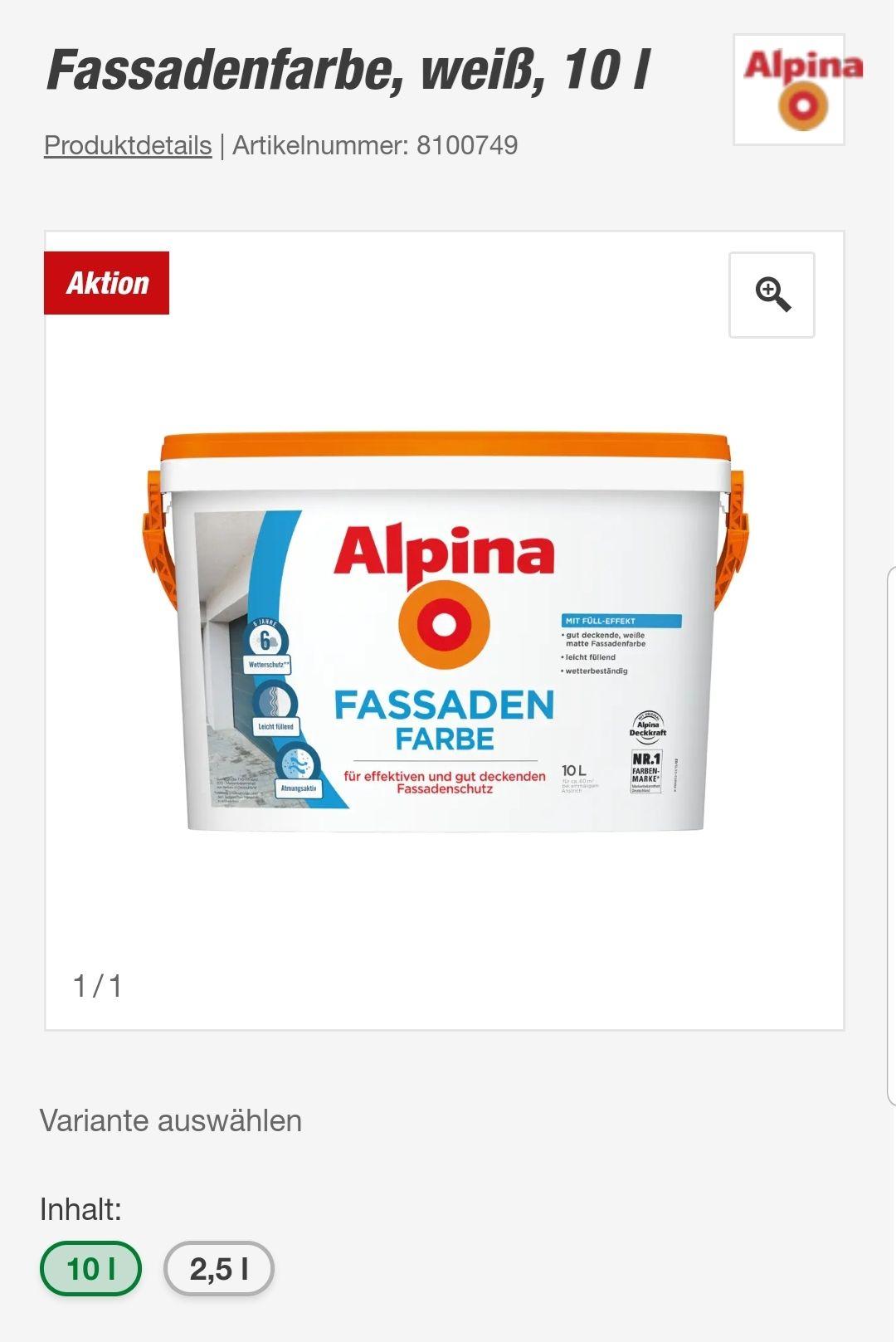 Alpina Fassadenfarbe weiss 10l kaufe 3 bezahle 2