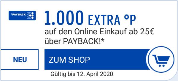 [PAYBACK, personalisiert] 1000 Extra-Punkte auf den Online-Einkauf ab 25 € über Payback bei vielen Shops, u.a. Saturn, eBay, Lieferando, H&M
