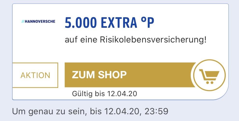 5.000 PayBack Punkte (personalisiert) für den Abschluss einer RisikoLeben bei der Hannoverschen