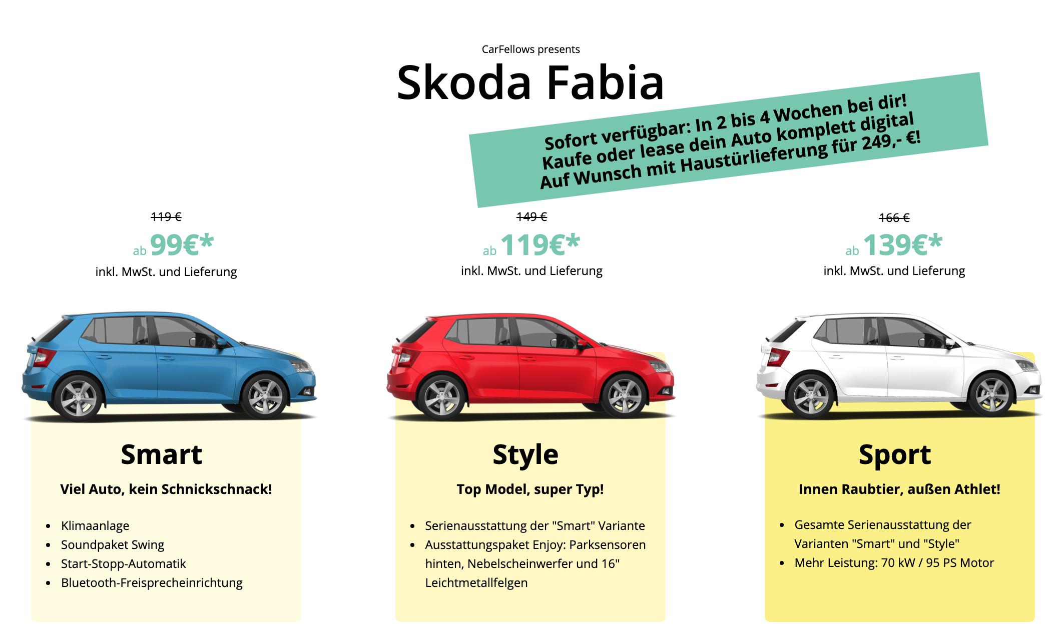 Privatleasing: Skoda Fabia, ohne Anzahlung, ab 99 €/Monat, Haustürlieferung möglich