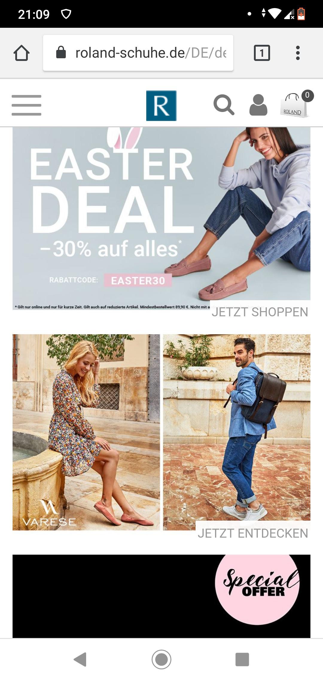 Roland-Schuhe: 30% Extra-Rabatt auch auf alles im Sale (MBW 89,90€) - Clarks, JOOP! uvm...