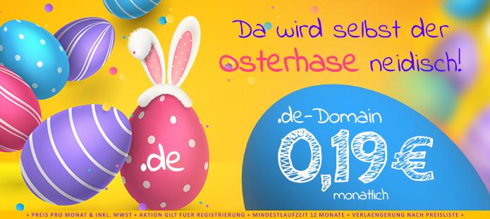 .de Domain für 19 cent pro Monat ohne Einrichtungsgebühr bei Neuregistrierung / im ersten Jahr