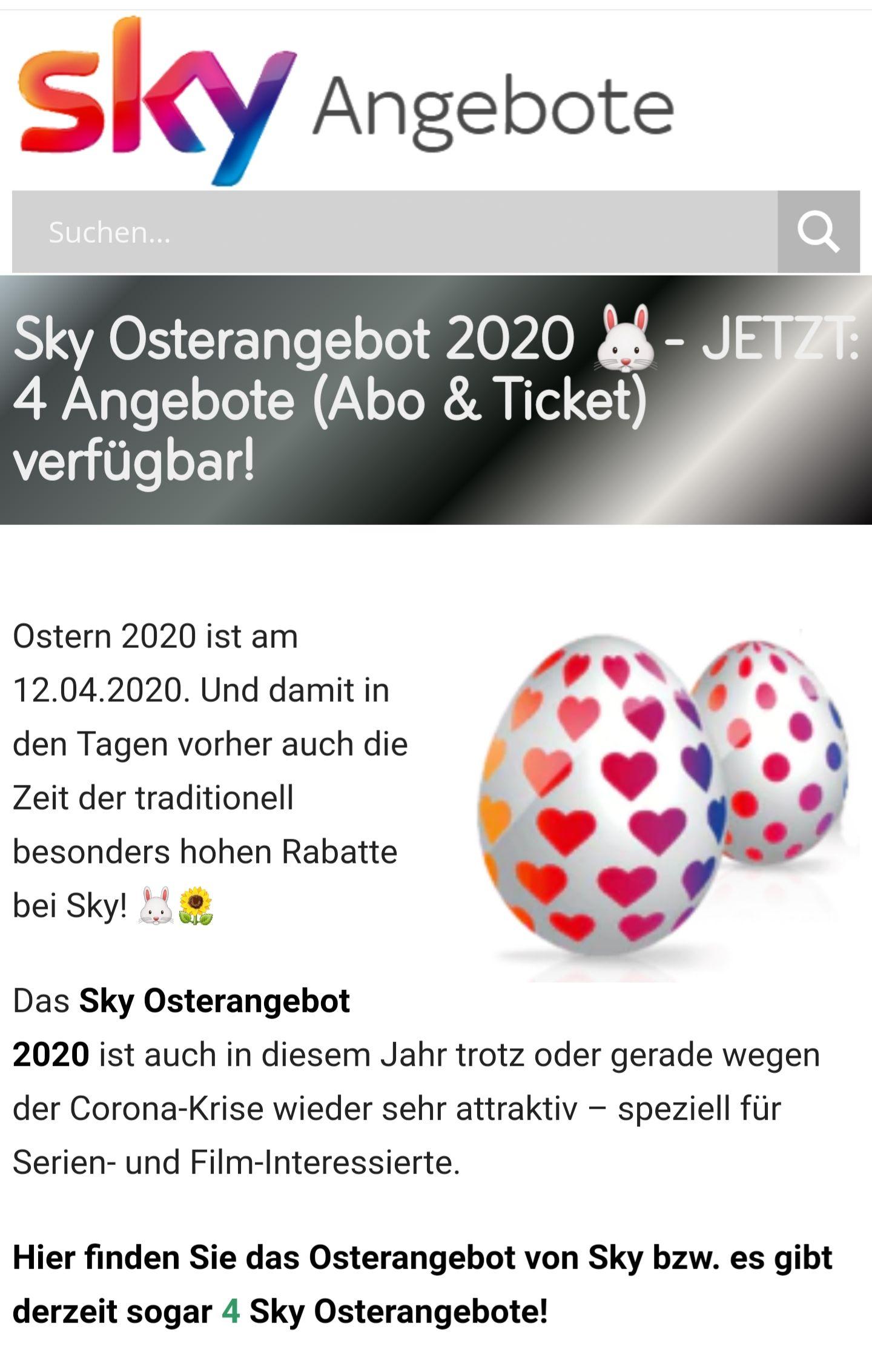 Sky Osterangebot 4 Angebote Abo&Ticket Verfügbar. 24,99 statt 47,99 für Sky Entertainment Plus inkl Netflix und Sky Cinema !