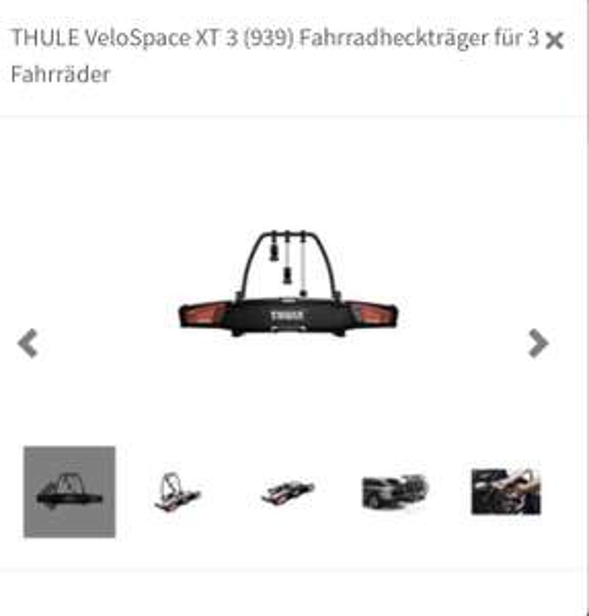THULE VeloSpace XT 3 (939) Fahrradheckträger ATU ABHOLUNG