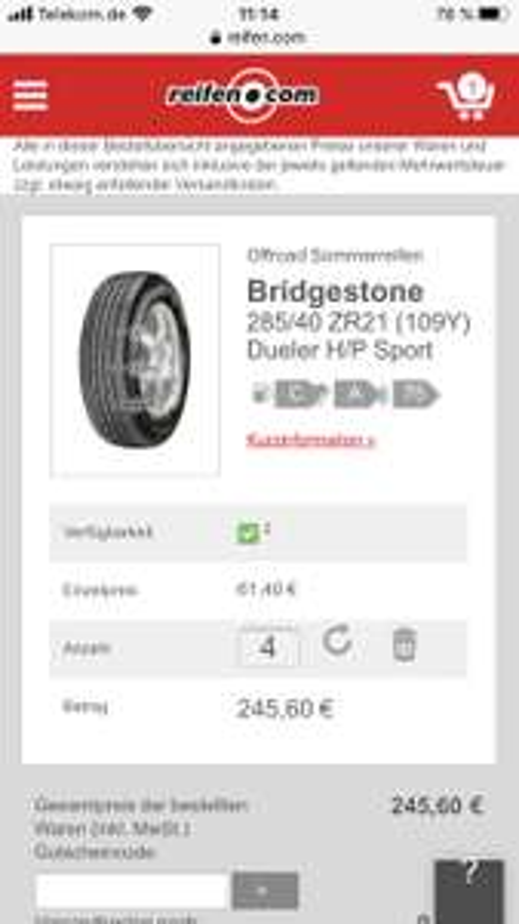 Reifen Bridgestone 285/40 ZR21 (109Y) Dueler H/P Sport