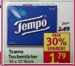 "[Rossmann ab 07.01.]""Tempo"" Taschentücher 30 x 10 Stück. 1,79€ statt 2,69€ ggf. -10%"
