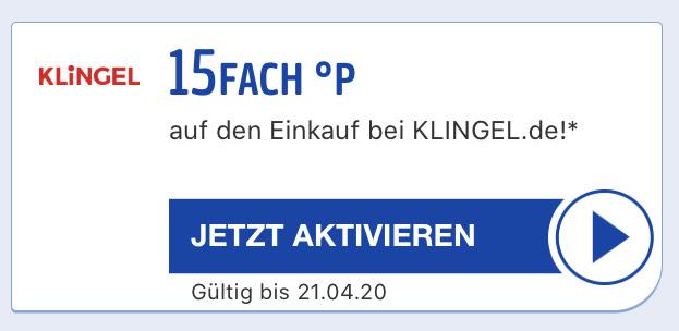 15 Fach Payback Punkte + 15 € Gutschein (MBW: 40€) bei Klingel
