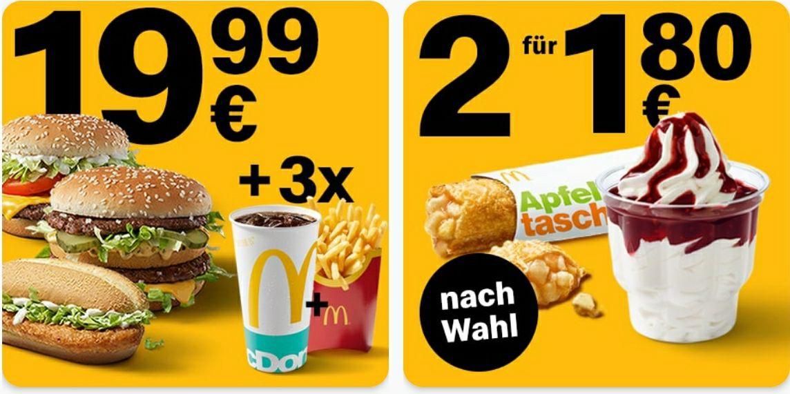 2x McSundae nach Wahl oder 2x Apfeltasche für 1,80€ oder 3 große Menüs für 19,99€ [McDonalds]