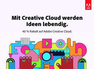 40 % Rabatt auf Adobe Creative Cloud (Alle Adobe Apps im Paket)