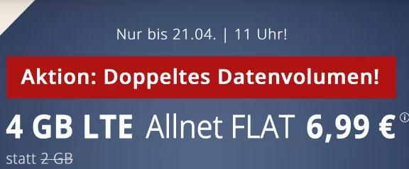 4 GB LTE Allnet Flat 6,99 € [PremiumSIM] bis 21.04.
