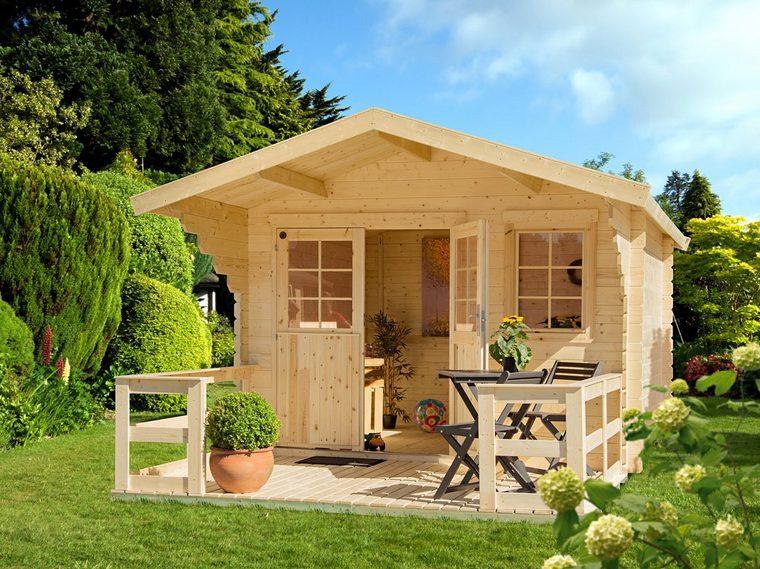 Gartenhaus inkl. Terrasse, Vordach und Fußboden - BxT: 350x441 cm,