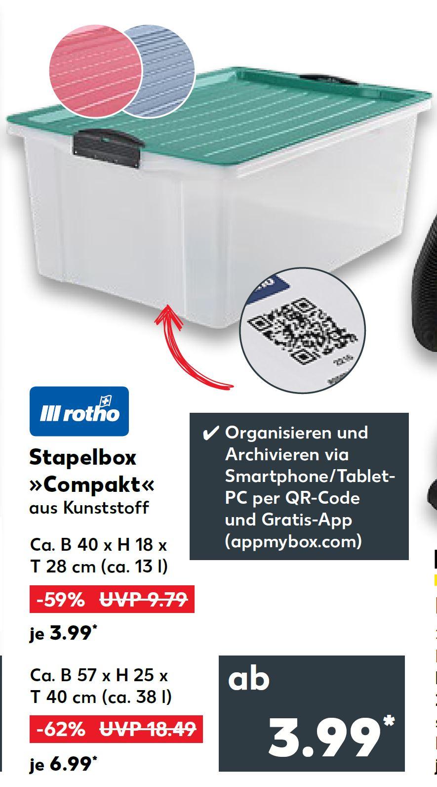 [Kaufland] Rotho Stapelbox Compact A4/13l für 3.99€ (PVG: 4.99€) bzw. A3/38l für 6.99€ (PVG: 7.99€)