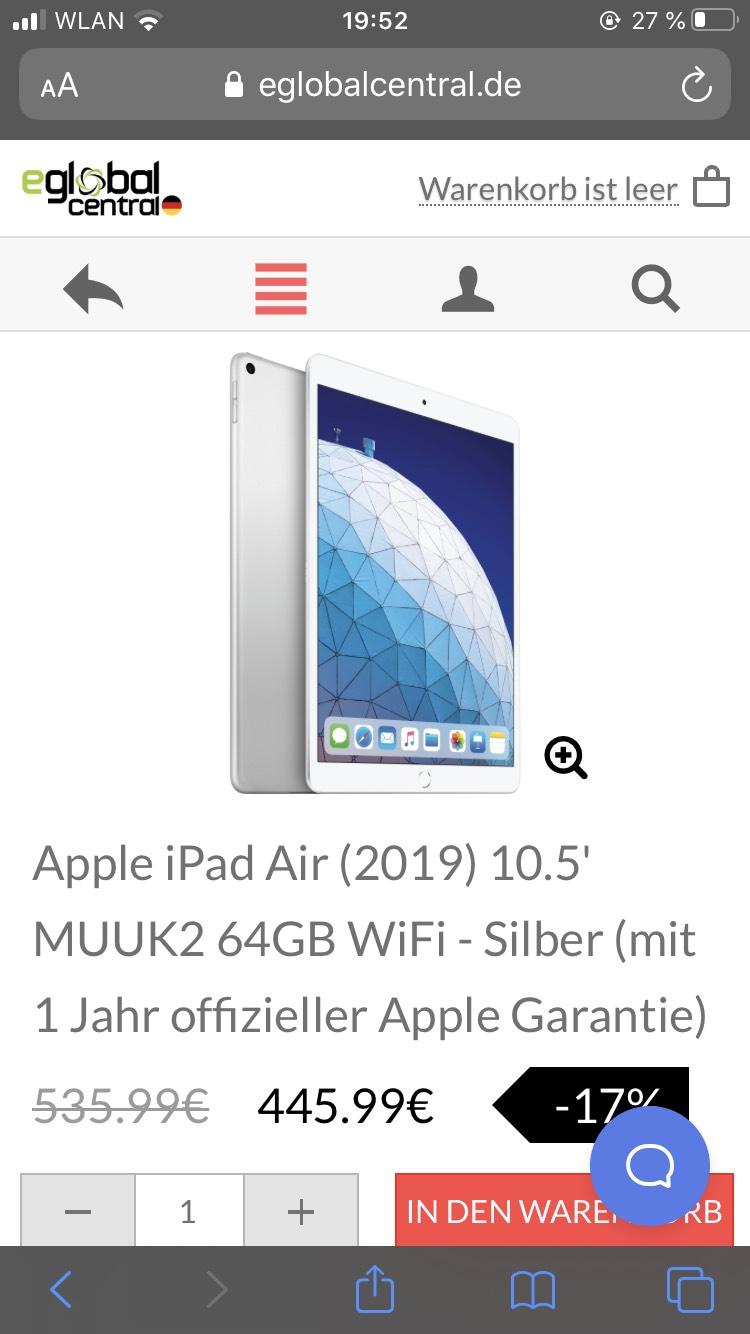 iPad Air 2019 Silber - 64GB WiFi - Silber