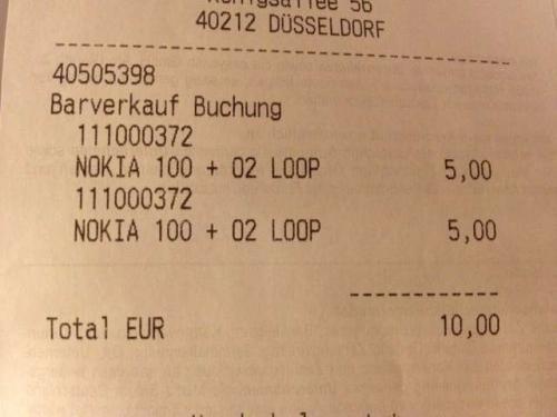 LOKAL Saturn Düsseldorf SEVENS - Nokia 100 (Saufhandy) mit 5€ Guthaben o2 Loop für 5€