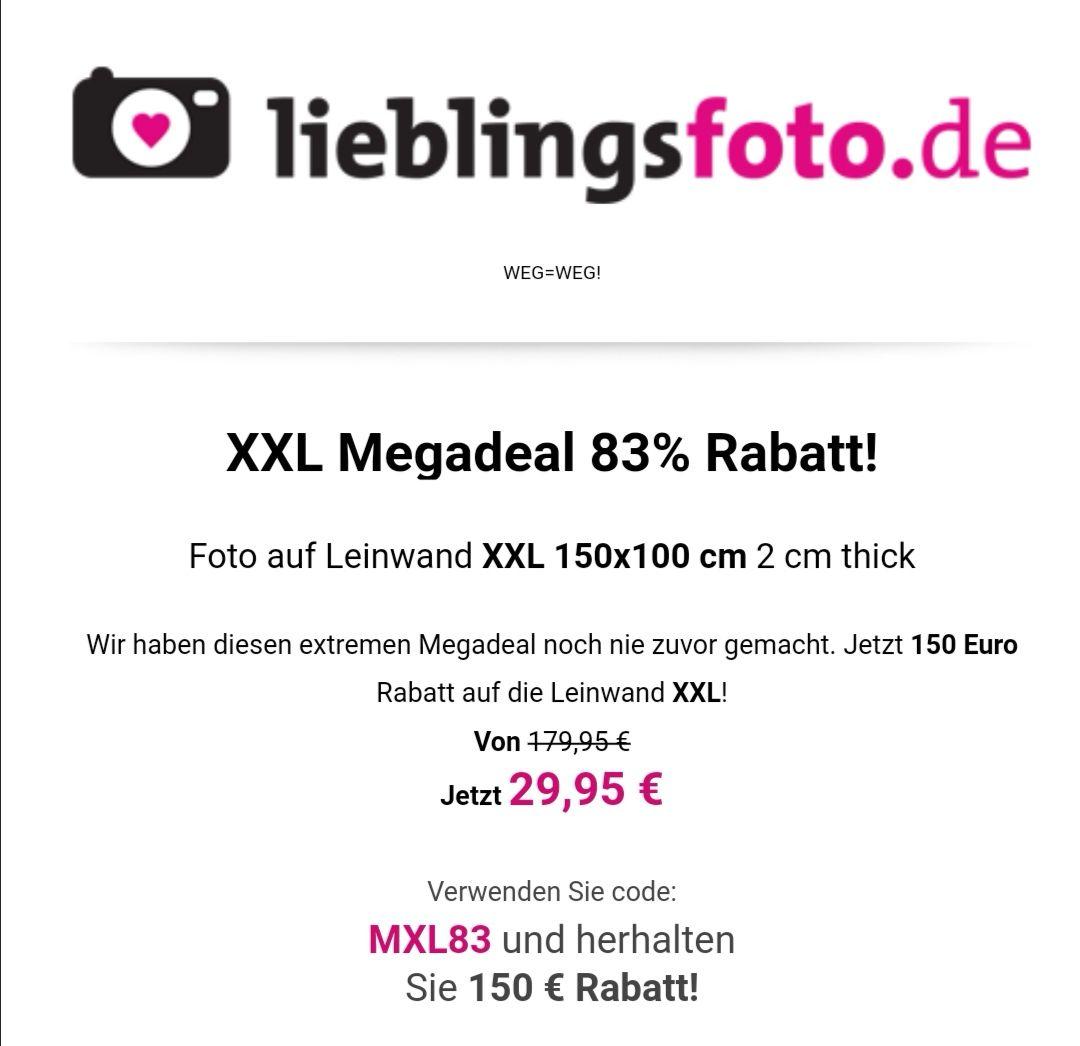 XXL Foto-Leinwand (150x100cm) für 29,95€ (zzgl. 10,95 € Versandkosten) statt 179,95€